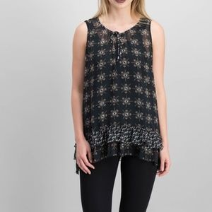 Style & Co Blouse Tiered Handkerchief Hem Tank Top
